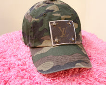 lv camo hat, military hat, louis vuitton upcycled hat,