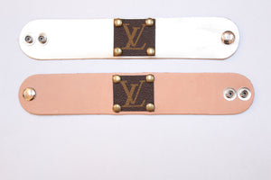 upcycled LV leather bracelet