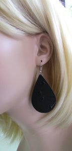black leather teardrop earrings