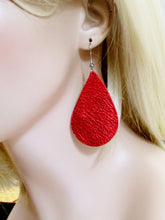 Metallic Leather Teardrop Earrings, Statement Earrings, Pick your color, repurposed leather, gift