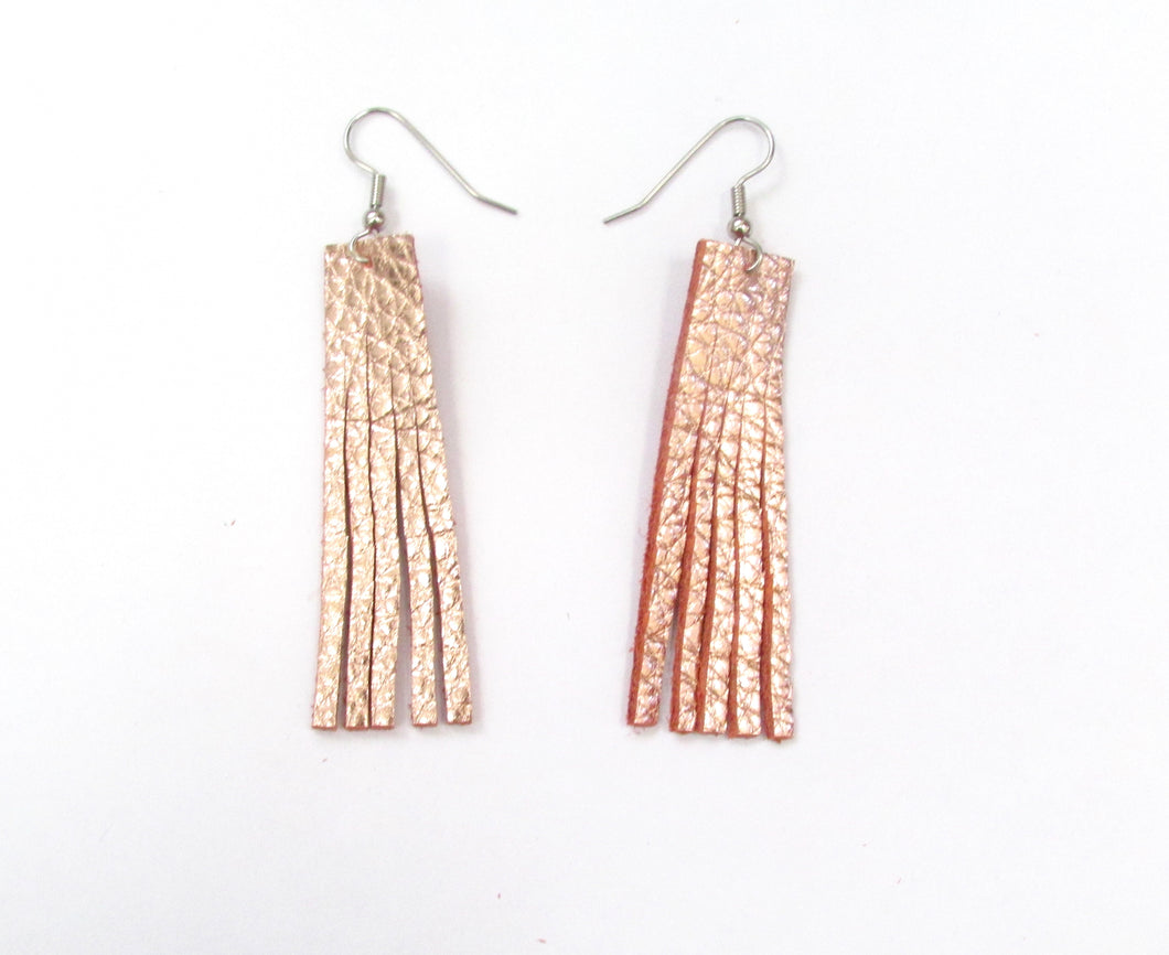 Small Rose Gold Leather Fringe Earrings