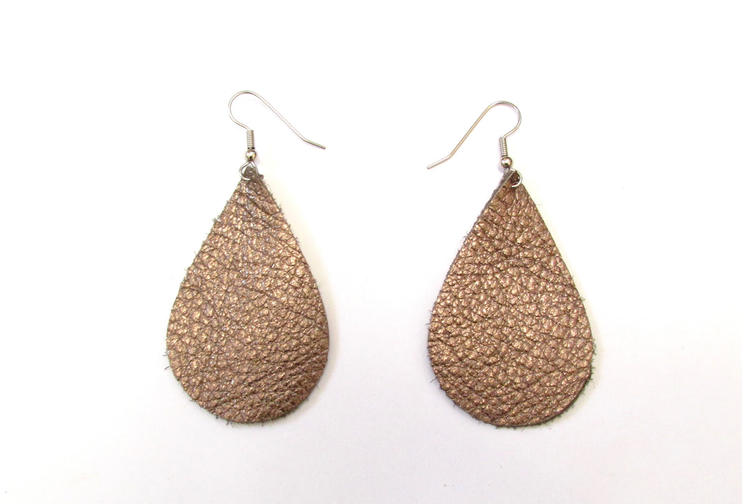copper leather teardrop earrings