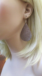 Leather Metallic Teardrop Earrings, Copper-color