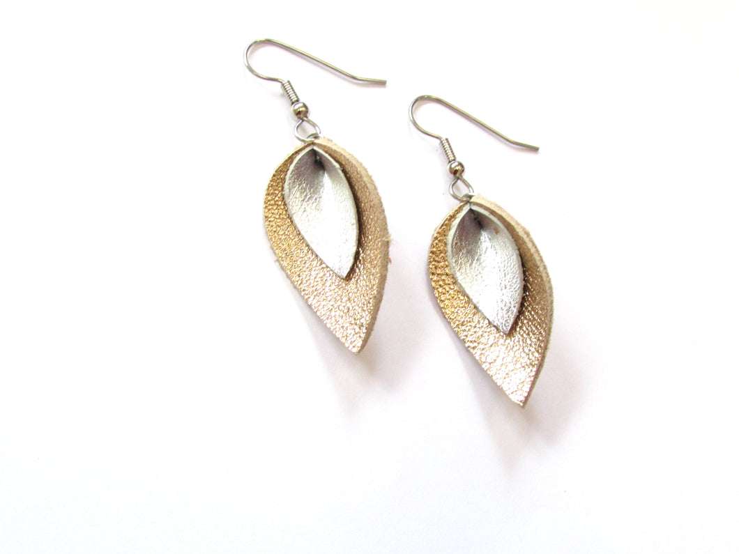 mini gold and silver leather petal earrings