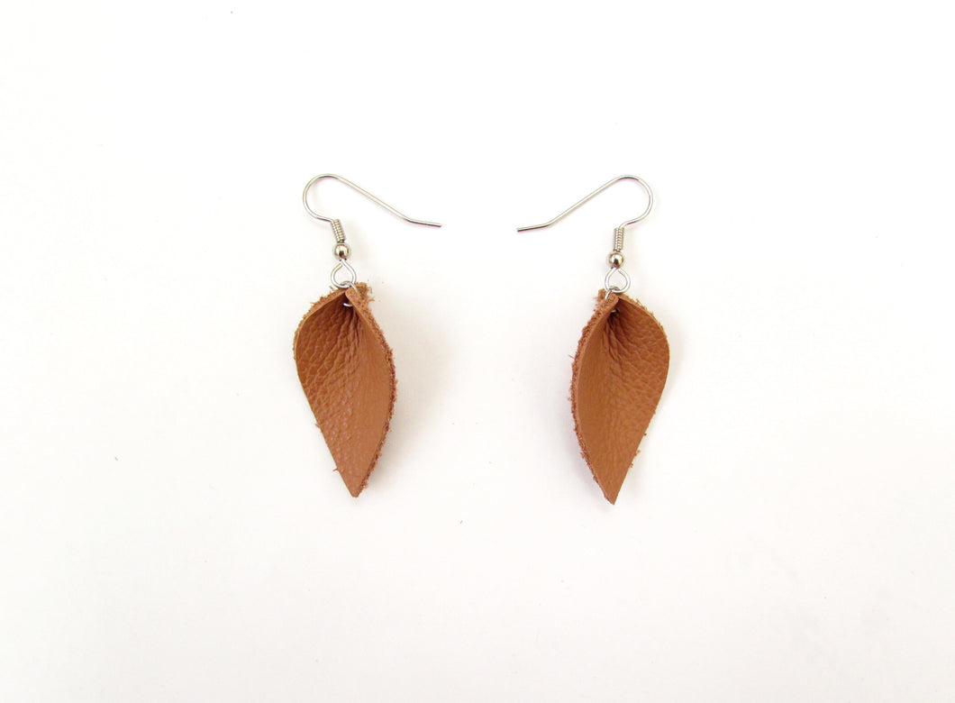 small camel leather petal earrings