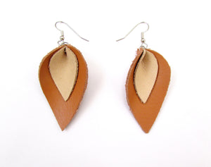 tan and beige leather earrings