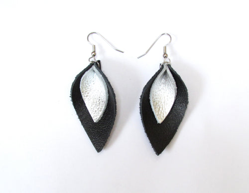 recycled leather earrings, black and silver