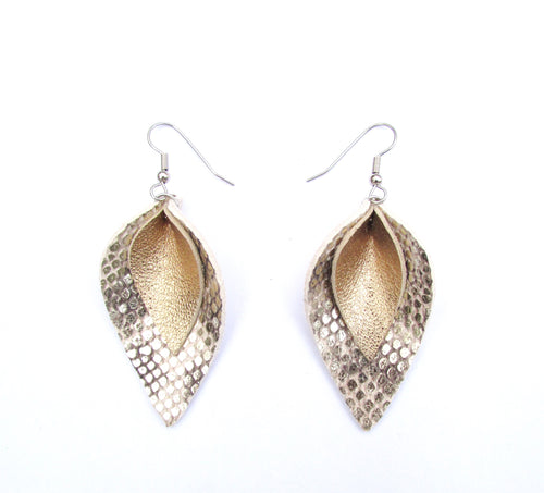 snakeskin print and gold leather earrings