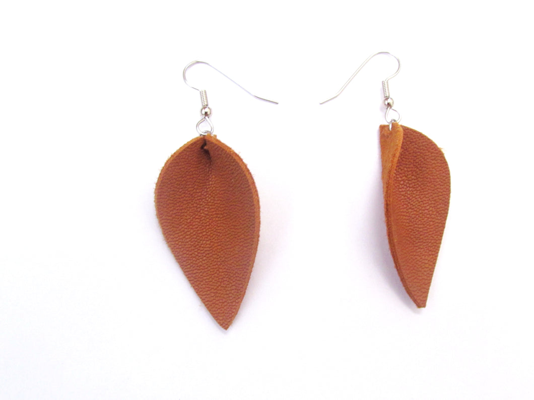 Tan Leather Petal Earrings, medium, everyday earrings