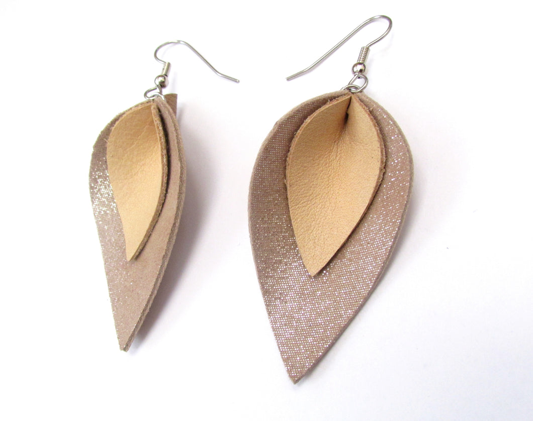 beige shimmer leather petal earrings