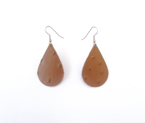 tan leather teardrop earrings, recycled leather earrings