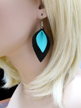 Black and Blue Leather Petal Earrings, Recycled