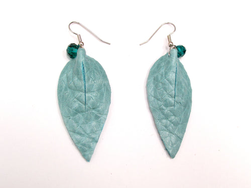 Leaf Leather Earrings, Petal, Seafoam blue