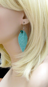 turquoise leaf leather earrings