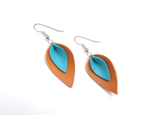 Small Tan and Turquoise Leather Petal Earrings, Southwestern Earrings