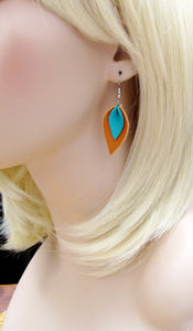 Small Tan and Turquoise Leather Petal Earrings