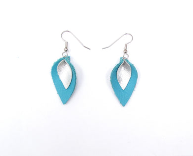 Turquoise and Silver Leather Petal Earrings, Very Small