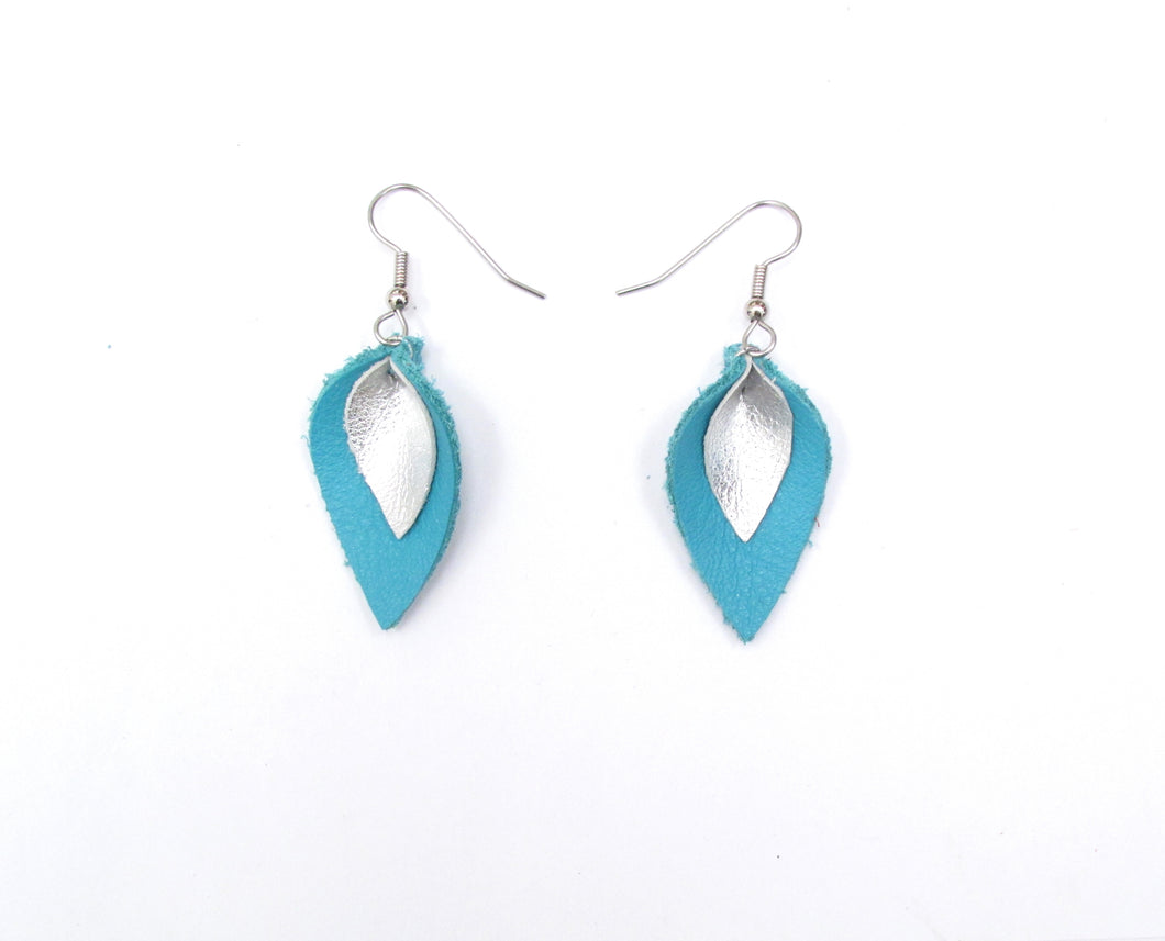 Turquoise Blue and Silver Leather Petal Earrings, Very Small