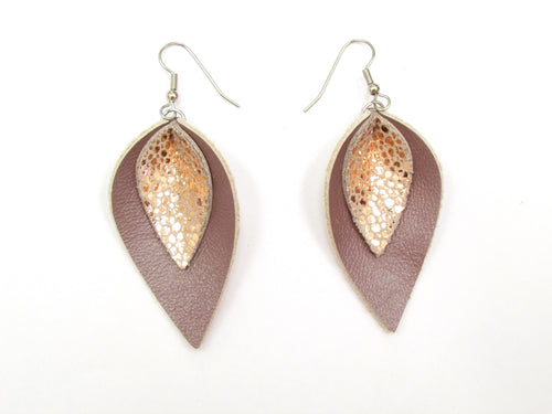 Blush Leather Petal Earrings, Rose gold