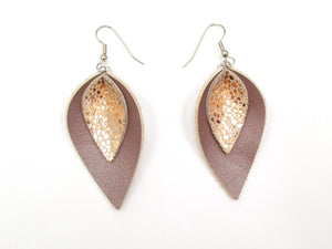 Blush Leather Petal Earrings, Teardrop