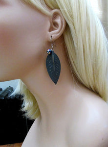 teal leather leaf earrings