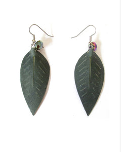 leaf leather petal earrings with charm