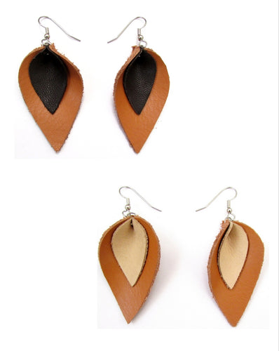 recycled leather petal earrings