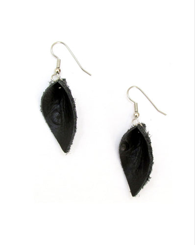 small black leather petal earrings, pod earrings
