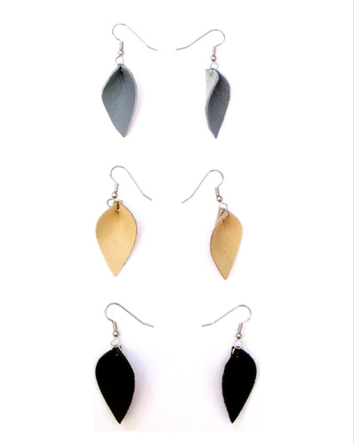small leather petal earrings, blue, beige, black