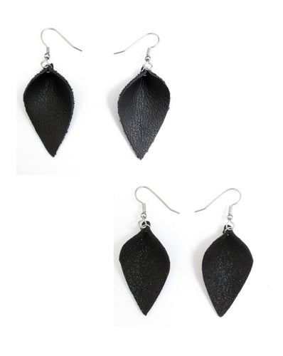 Black Leather Petal Earrings OR Black Shimmer Petal Earring