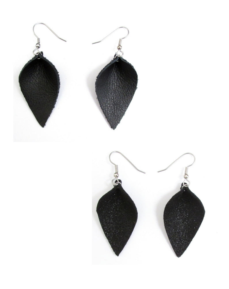 black leather petal earrings, recycled