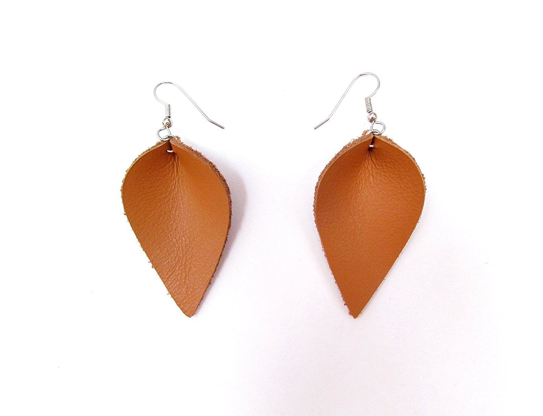 Large Tan Recycled Leather Petal Earrings