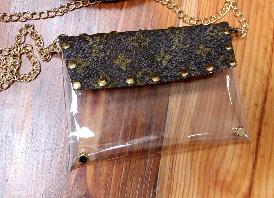 Cross-body Clear Purse, Studded, Monogram, Upcycled Stadium Purse