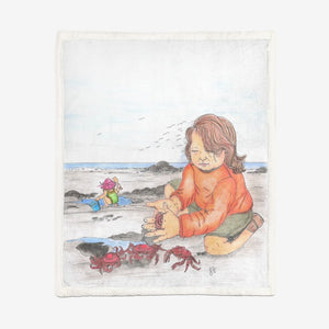 Day at the Beach by Lynn Hughan Double-Sided Super Soft Plush Blanket