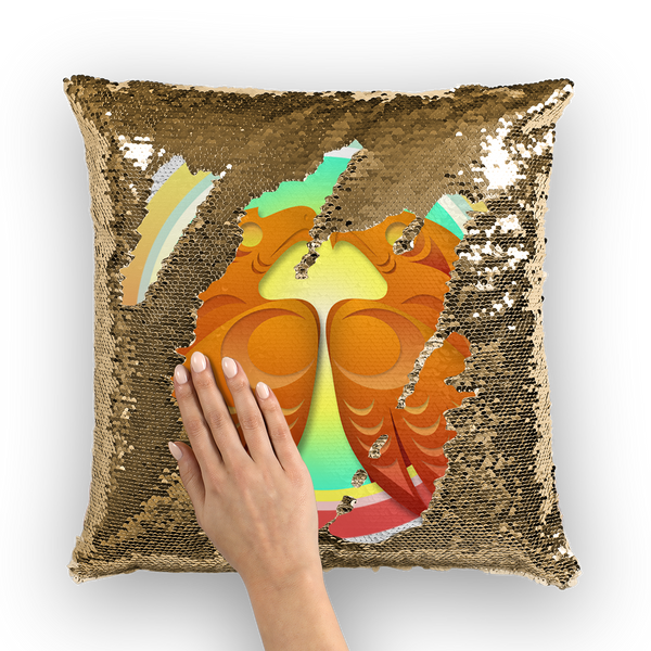Hawk (Square) by Ovila Mailhot Sequin Cushion Cover