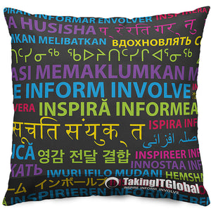 INSPIRE INFORM INVOLVE Throw Pillow