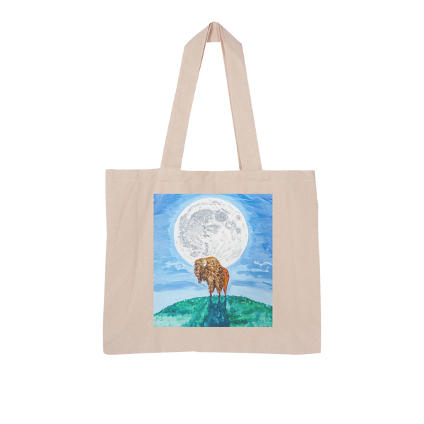 Bison Moon by Kevin Wesaquate Large Organic Tote Bag