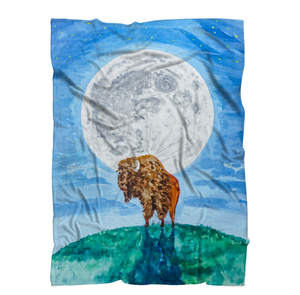 Bison Moon by Kevin Wesaquate Premium Sublimation Adult Blanket