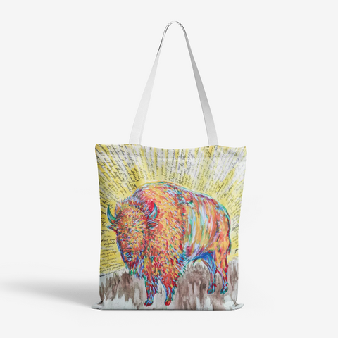 Bison Poem by Kevin Wesaquate Canvas Tote Bag