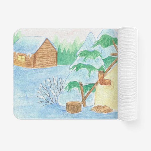 Winter Cabin by Cynthia Landry Welcome Mat