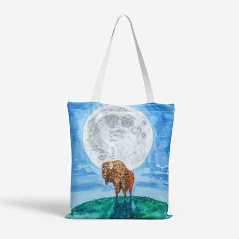 Bison Moon by Kevin Wesaquate All-Over Print Tote Bag