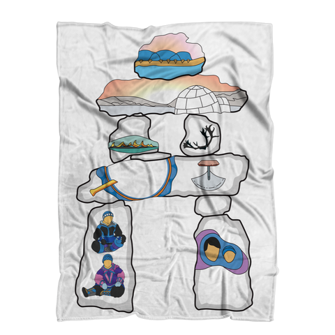 Inukshuk by Alexander Angnaluak Premium Sublimation Adult Blanket