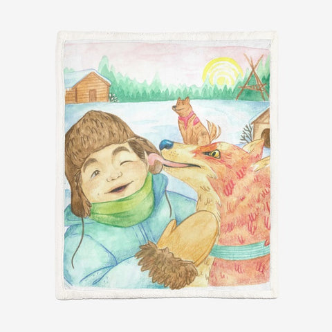 Friendly Fox by Cynthia Landry Large Blanket