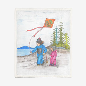 Kite Flying by Lynn Hughan Super Soft Plush Blanket