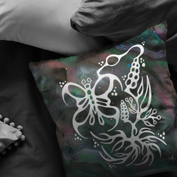 Butterfly & Floral Pillow by Miigizi