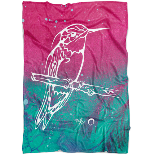 Hummingbird Fleece Blanket by Miigizi