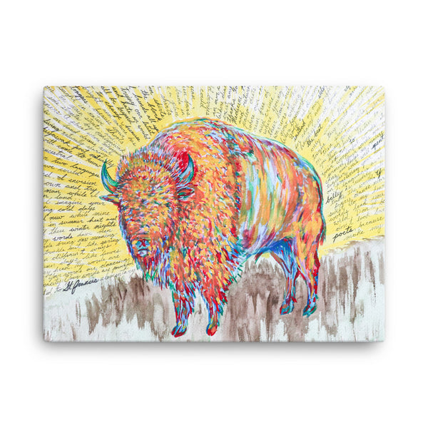 Bison Poem by Kevin Wesaquate Canvas Print