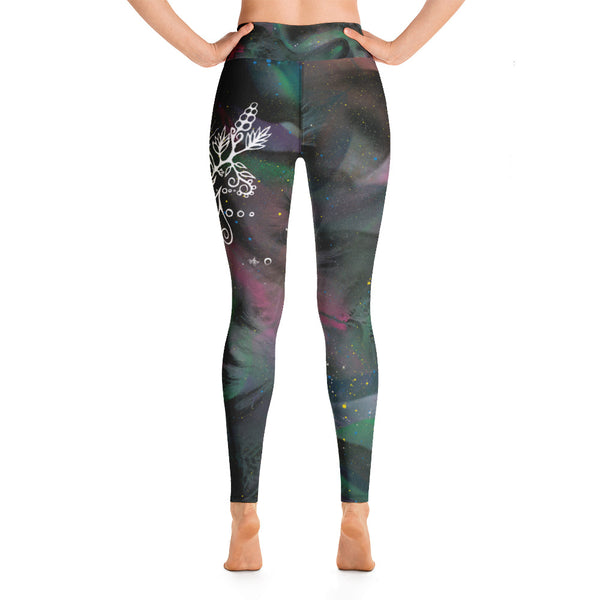 Purple Coneflower Yoga Leggings by Miigizi