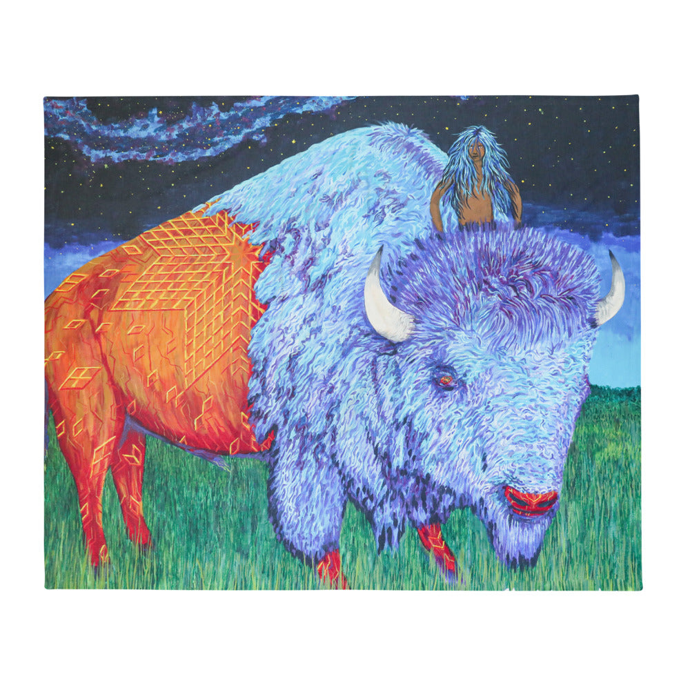 Bison Rider Throw Blanket by Kevin Wesaquate
