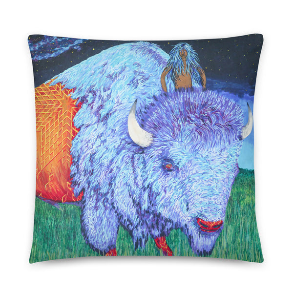 """Mistassini The Boy""  Pillow by Kevin Wesaquate"